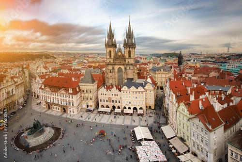 Foto Spatwand Praag Widok na rynek starego miasta Praga,Czechy.
