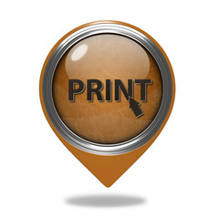 Print pointer icon on white background