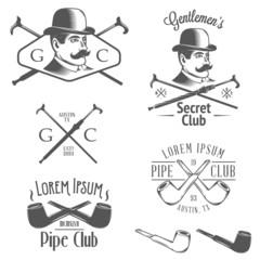 Set of vintage gentlemen's club design elements