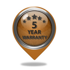 Five year warranty pointer icon on white background