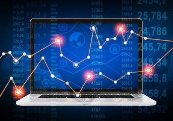 laptop and financial chart with glowing points on abstract