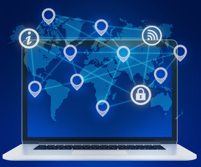 Icons of locations in a network. laptop and world map.