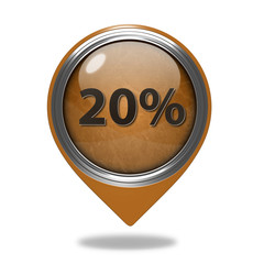 Twenty percent pointer icon on white background