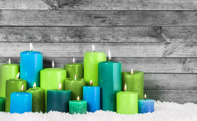 Blue and Green Lighted Christmas Candles