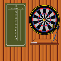 Set of darts with an information stand