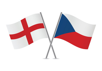 Czech and English flags. Vector illustration.