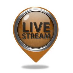Live stream pointer icon on white background