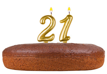 birthday cake with candles number 21 isolated