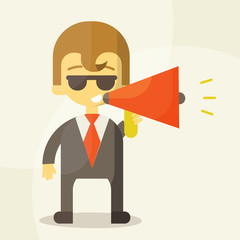 Young businessman with a megaphone