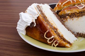 Кусок торта на тарелке