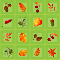 seamless pattern of autumn elements