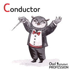 Alphabet professions Owl Letter C - Conductor Vector Watercolor.