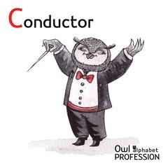 Alphabet professions Owl Letter C - Conductor Vector Watercolor.