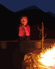 funky man around the campfire at night