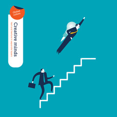 Businessman with a rocket and businessman going up the stairs