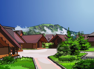 landscape wooden houses on a background of mountains