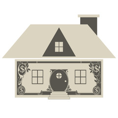 House made of money, vector illustration