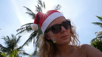 Female Celebrating Merry Christmas and Happy New Year.