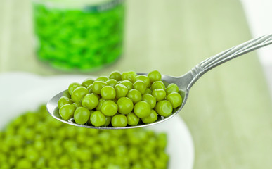A spoonful of tinned canned green peas