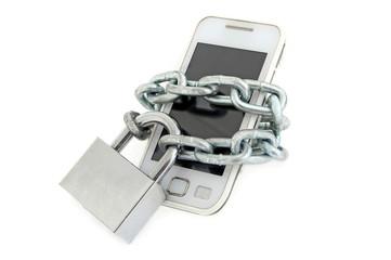 Сотовый телефон на цепи с замком