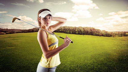 Professional golf player wearing sportswear standing on nature