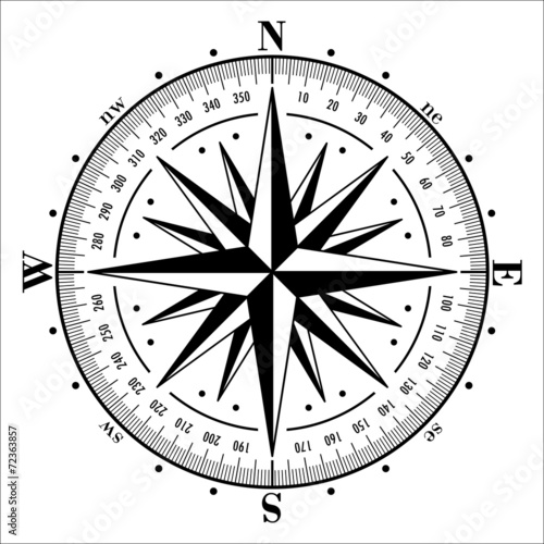 Compass rose isolated on white. Vector illustration. - 72363857