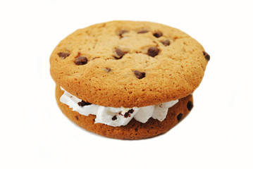 Chocolate Chip Cookie Sandwich Filled with a Creamy Center