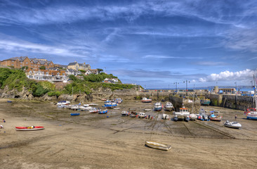Newquay harbour at low tide, Cornwall, UK.