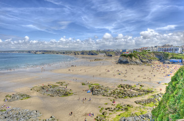 View of Towan beach, Newquay, Cornwall, UK.