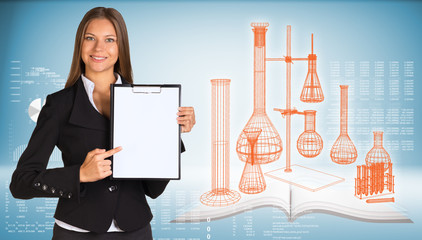 Businesswoman holding paper holde. Wire-frame flasks chemistry