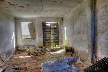 Abandoned, derelict building interior.