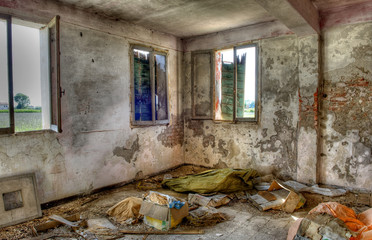 Abandoned, derelict building interior.