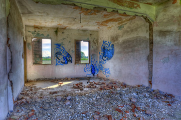 Abandoned, derelict building interior