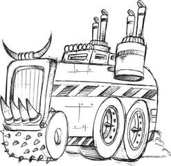 Armored Truck Vehicle Sketch Vector Illustration Art