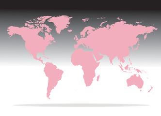 mappa mondo rosa