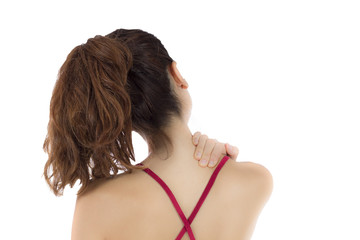 Woman massaging her neck and shoulders