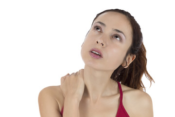 Woman having a tense neck