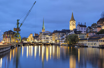 River Limmat  in the centre of Zurich in the evening