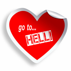 Red heart sticker Go to Hell isolated on white