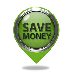 Save money pointer icon on white background