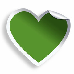 Green blank eco heart sticker isolated on white