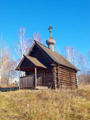 Wooden chapel of Prophet Elijah. Sinyachikha village. Russia