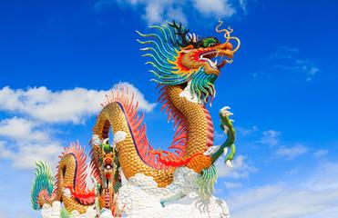 Colorful dragon statue