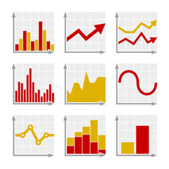 Business Infographic Colorful Charts and Diagrams Set
