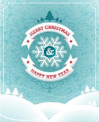 Vector Christmas illustration on landscape background.