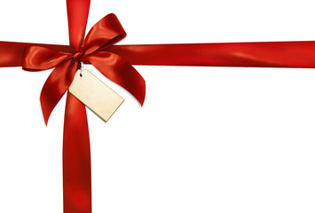 Red gift ribbon on white background