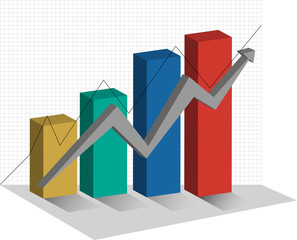 Stock Graph 3d Chart up trend vector