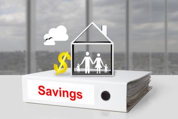 office binder savings house family dollar symbol