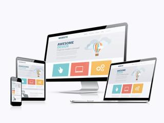 Flat responsive web design concept website development devices