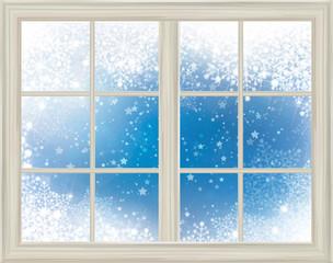 Window frame  on snow background.